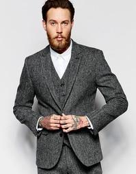 Серый твидовый пиджак кроя слим ASOS - Серый