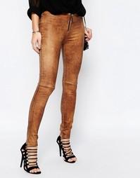 Узкие джинсы из искусственной кожи с потрескавшимся эффектом Supertras Supertrash
