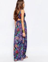 Платье макси с цветочным принтом Mela Loves London - Фиолетовый