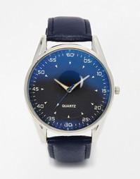 Часы с синим циферблатом и кожаным ремешком Reclaimed Vintage - Синий