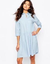 Платье-рубашка с пышной юбкой BOSS Orange Equeen - Синий