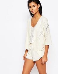 Льняной пиджак с вышивкой Moon River - Кремовый