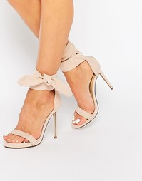 Легкие босоножки на каблуке с декоративным узлом Missguided - Телесный