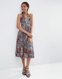 Платье-халтер миди с мозаичным принтом ASOS AFRICA x Chichia - Мульти