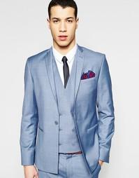 Синий пиджак скинни с прямой кромкой ASOS - Синий