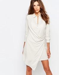 Платье-рубашка с запахом Sisley - Бежевый