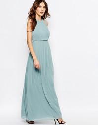 Плиссированное голубое платье макси с высоким воротом BCBGeneration