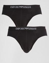 2 хлопковых трусов Emporio Armani - Черный