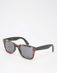 Квадратные солнцезащитные очки с тропическим принтом ASOS - Мульти