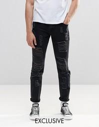 Черные зауженные джинсы с вырезами Brooklyn Supply Co