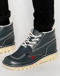 Высокие кожаные ботинки Kickers Kick - Темно-синий
