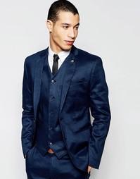 Зауженный льняной пиджак ASOS - Темно-синий