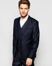 Темно-синий узки пиджак из 100% шерсти ASOS - Темно-синий