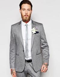 Серый пиджак зауженного кроя в крапинку ASOS Wedding - Серый