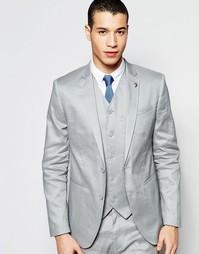 Зауженный льняной пиджак ASOS - Серый