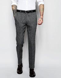 Серые твидовые брюки кроя слим ASOS - Серый