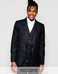 Облегающий пиджак в клеточку эксклюзивно от Rogues Of London - Черный