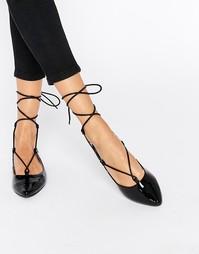 Черные лакированные туфли Glamorous Ghillie - Черный лакированный