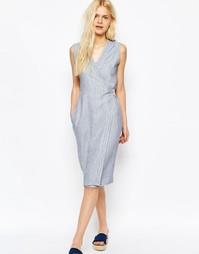 Платье с запахом и декоративными строчками ASOS - Синий