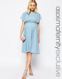 Платье миди с отделкой на талии и рукавом-бабочкой для беременных ASOS