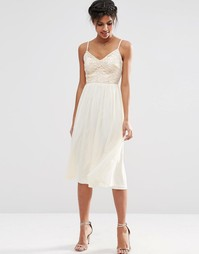 Приталенное платье миди с пайетками на лифе ASOS - Телесный