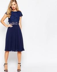 Платье миди с укороченным кружевным топом ASOS - Темно-синий
