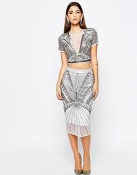 Декорированная юбка‑карандаш ASOS NIGHT Co-ord - Серебряный