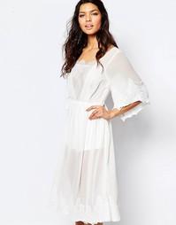 Кружевное платье миди цвета слоновой кости The Jetset Diaries