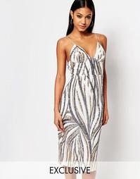 Платье миди с бретельками и пайетками Club L - Многоцветные пайетки
