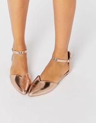 Золотистые туфли на плоской подошве Head over Heels By Dune Hyrah