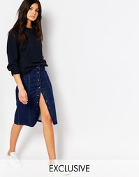 Джинсовая юбка-карандаш на пуговицах Northmore - Синий