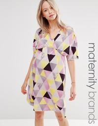 Платье с запахом и графическим принтом для беременных Bluebelle Matern