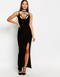 Платье макси с элементами сбруи-бандажа Club L - Черный