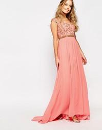 Платье макси с отделкой Virgos Lounge Juliana - Розовый