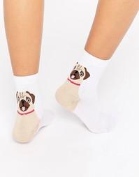 Носки с рисунком мопса на пятке ASOS - Розовый