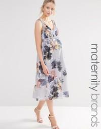Короткое приталенное платье для беременных с цветочным принтом и глубо Little Mistress Maternity