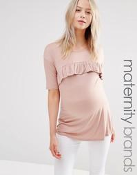 Трикотажный топ с рюшами по кромке Bluebelle Maternity - Розовый