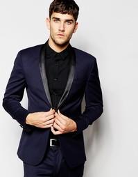 Темно-синий приталенный пиджак смокинга ASOS - Темно-синий