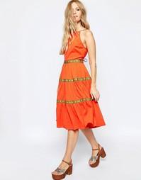 Сарафан миди с ленточной отделкой ASOS - Оранжевый