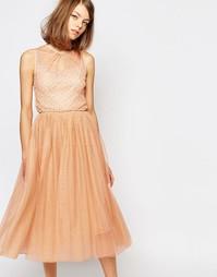 Платье с сетчатым верхним слоем и вышивкой пайетками Lost Ink
