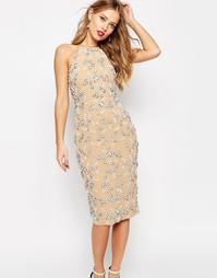 Платье миди с цветочной отделкой и вырезом сзади ASOS SALON - Mink