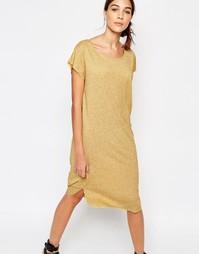 Желтое меланжевое платье до колена Selected Ivy - Состаренный золотой