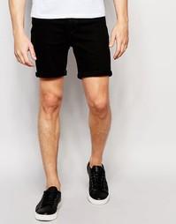 Джинсовые шорты слим с отворотами Only & Sons - Черный