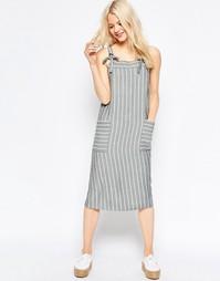 Платье миди в полоску ASOS - Серый