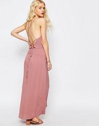 Платье макси с завязкой сзади ASOS - Сумеречно-розовый