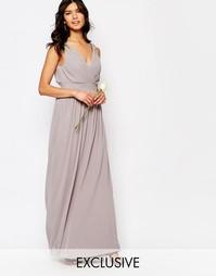 Платье макси с запахом и отделкой TFNC WEDDING - Опаловый серый