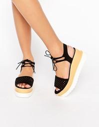 Черно-белые сандалии на платформе Miss KG Phoenyx Grunge - Черный
