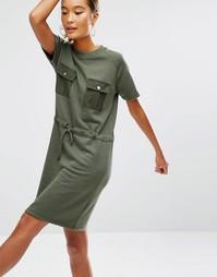 Трикотажное платье-рубашка со шнурком на поясе и карманами Daisy Stree