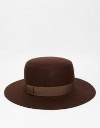 Коричневая широкополая фетровая шляпа ASOS - Коричневый