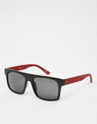 Черные солнцезащитные очки с плоским верхом и бордовыми дужками ASOS